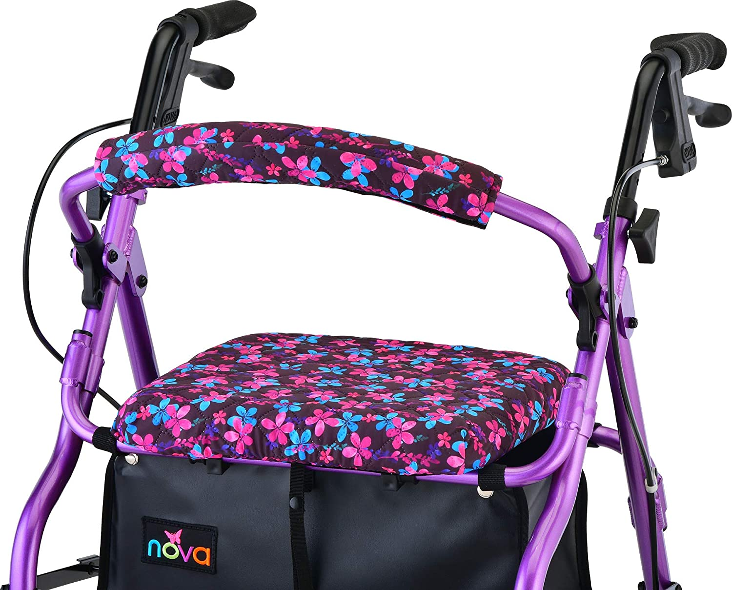 NOVA Medical Products Rollator Walker Seat & Back Cover, Removable & Washable, Garden Flowers