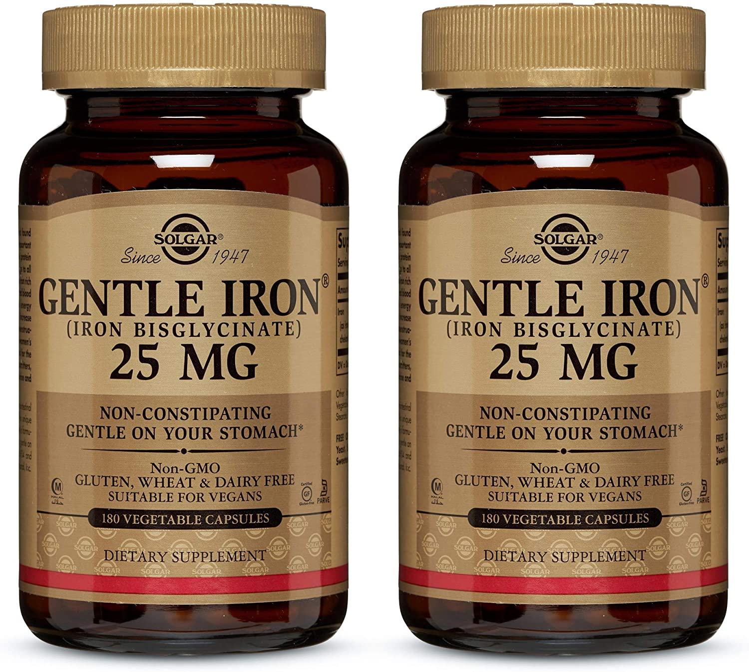 Solgar Gentle Iron 25 mg, 180 Vegetable Capsules - Pack of 2 - Ideal for Sensitive Stomachs - Non-Constipating - Red Blood Cell Supplement - Non-GMO, Vegan, Gluten & Dairy Free - 360 Total Servings