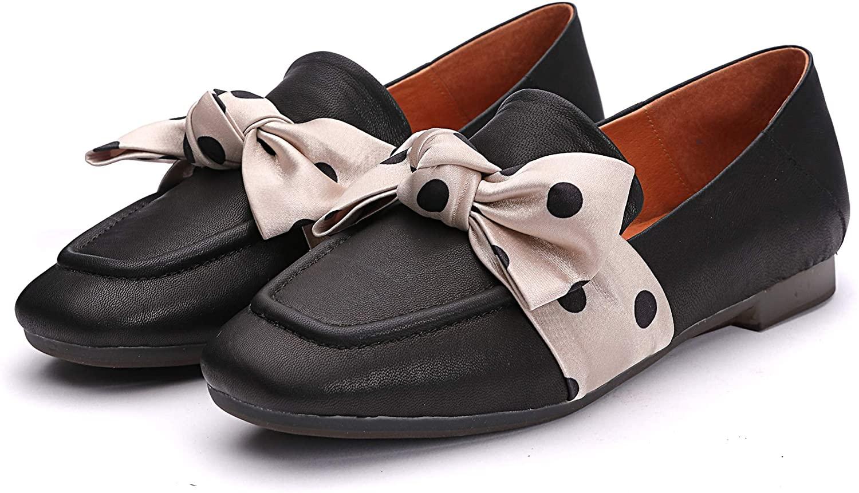 Dwarves Handmade Genuine Sheepskin Leather Women's Bow Comfort Driving Office Slip-on Loafer Flats,Black