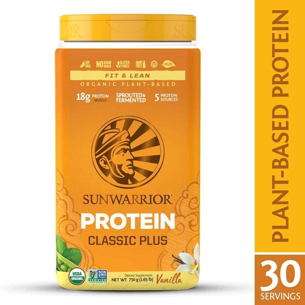 Sunwarrior Classic Plus Organic Vegan Protein Powder with BCAAs and Pea Protein (Vanilla, 30 Servings)