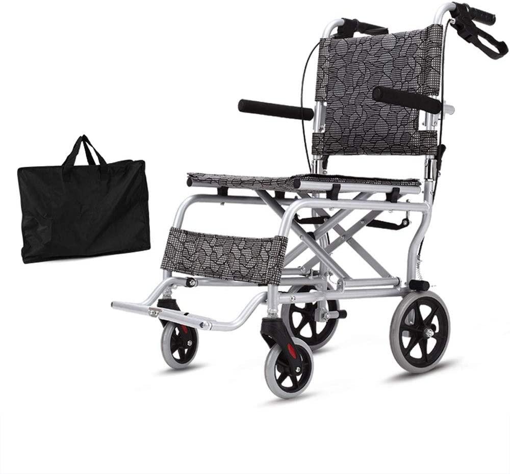 Jiu Si- Wheelchair - Lightweight Folding Elderly Wheelchair Portable Aluminum Alloy Elderly Travel Trolley Size -88x52x90cm Wheelchair