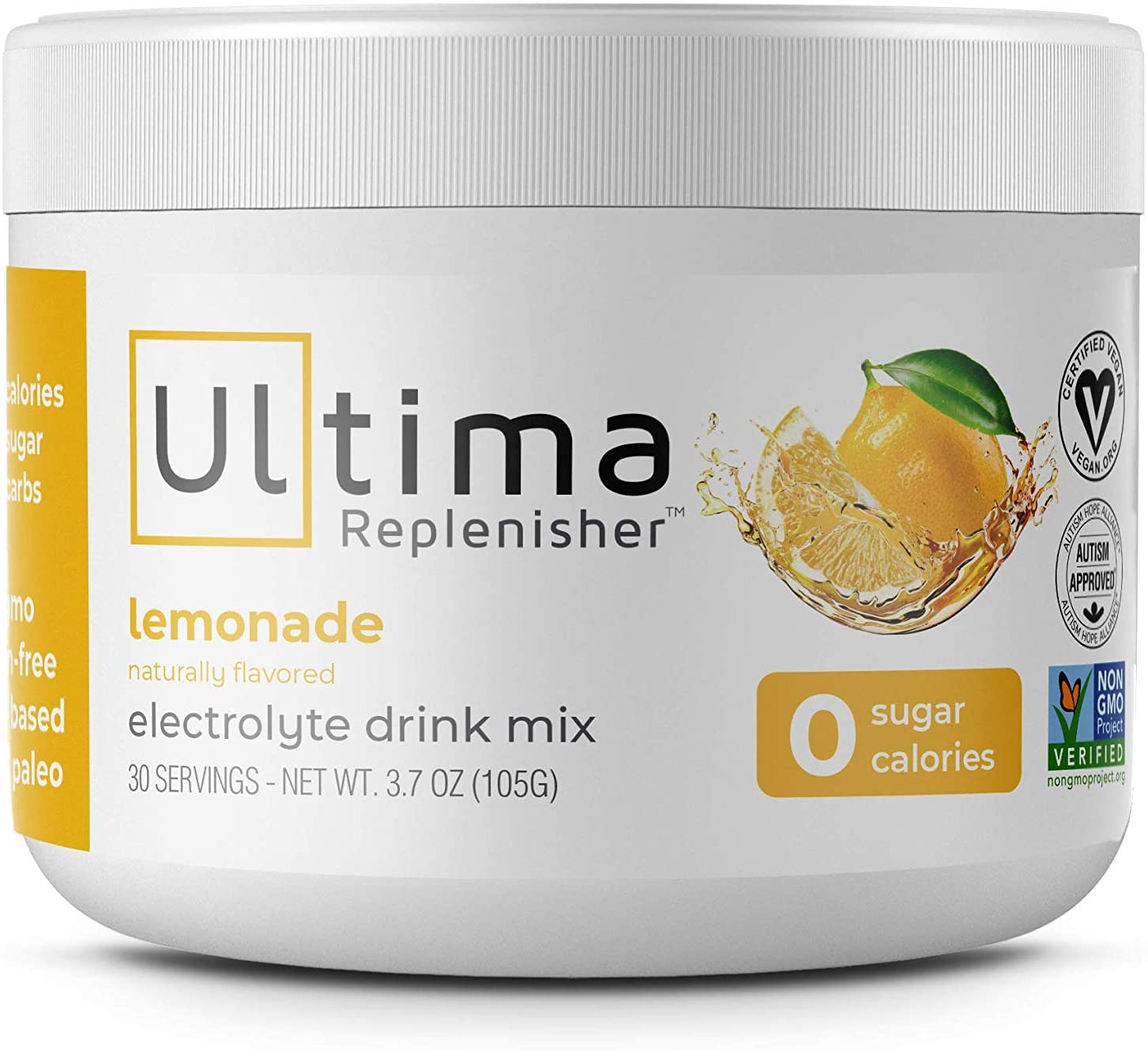 Ultima Replenisher Electrolyte Hydration Powder, Lemonade, 30 Serving Canister - Sugar Free, 0 Calories, 0 Carbs - Gluten-Free, Keto, Non-GMO with Magnesium, Potassium, Calcium