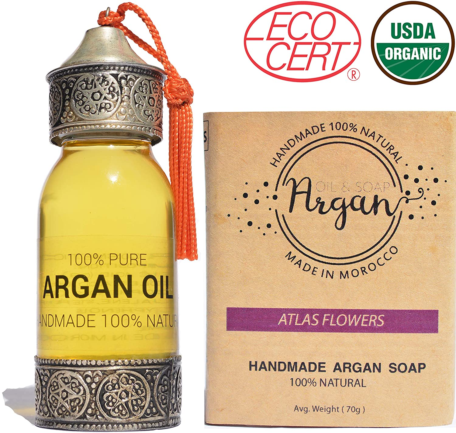 Pure Argan Oil 100% Pure Cold Pressed, USDA Certified Organic Handmade For Hair,Skin,face and Nails, With Nice light nutty smell 60ml + 1 bar of argan oil soap 80g   Moroccan oil treatment