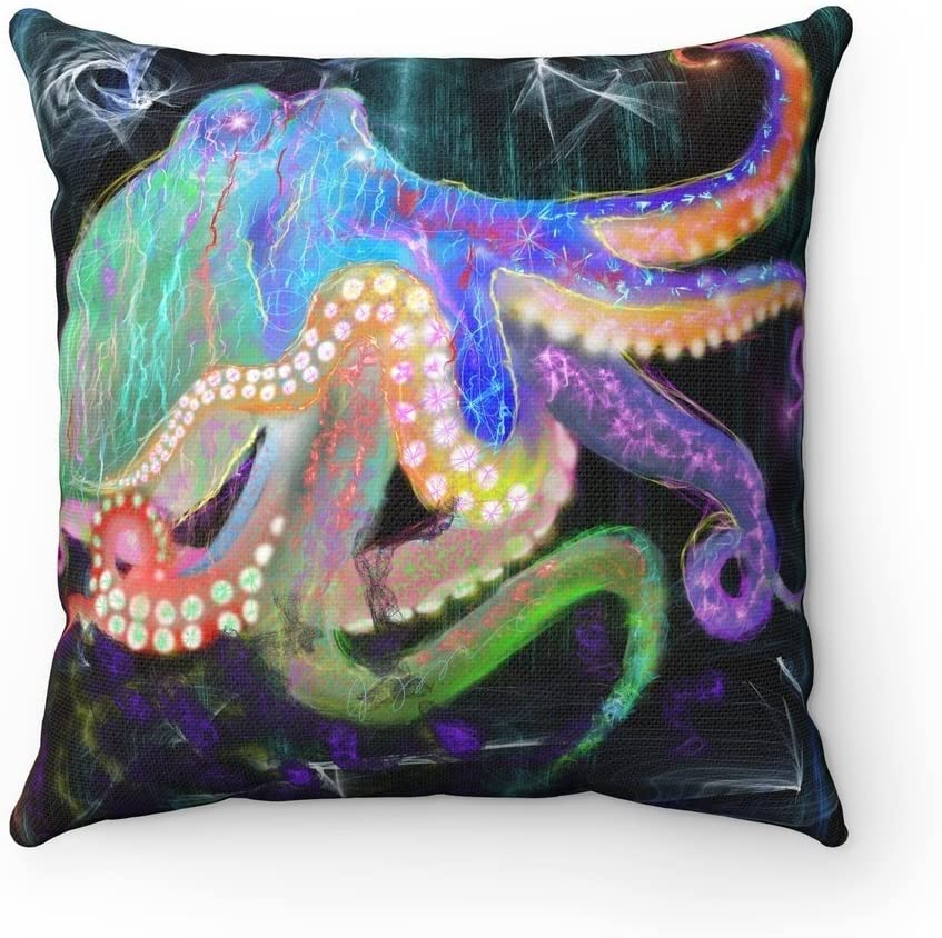 Colorful Rainbow Cute Octopus Square Throw Octopus Accent Pillow (16