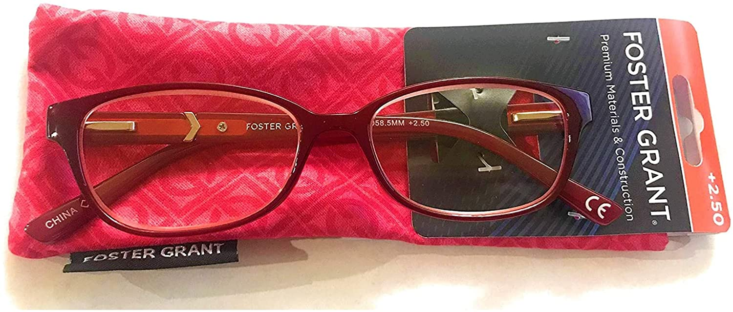 Foster Grant Coloread Wine Evalina Women's Reading Glasses with Case +1.25