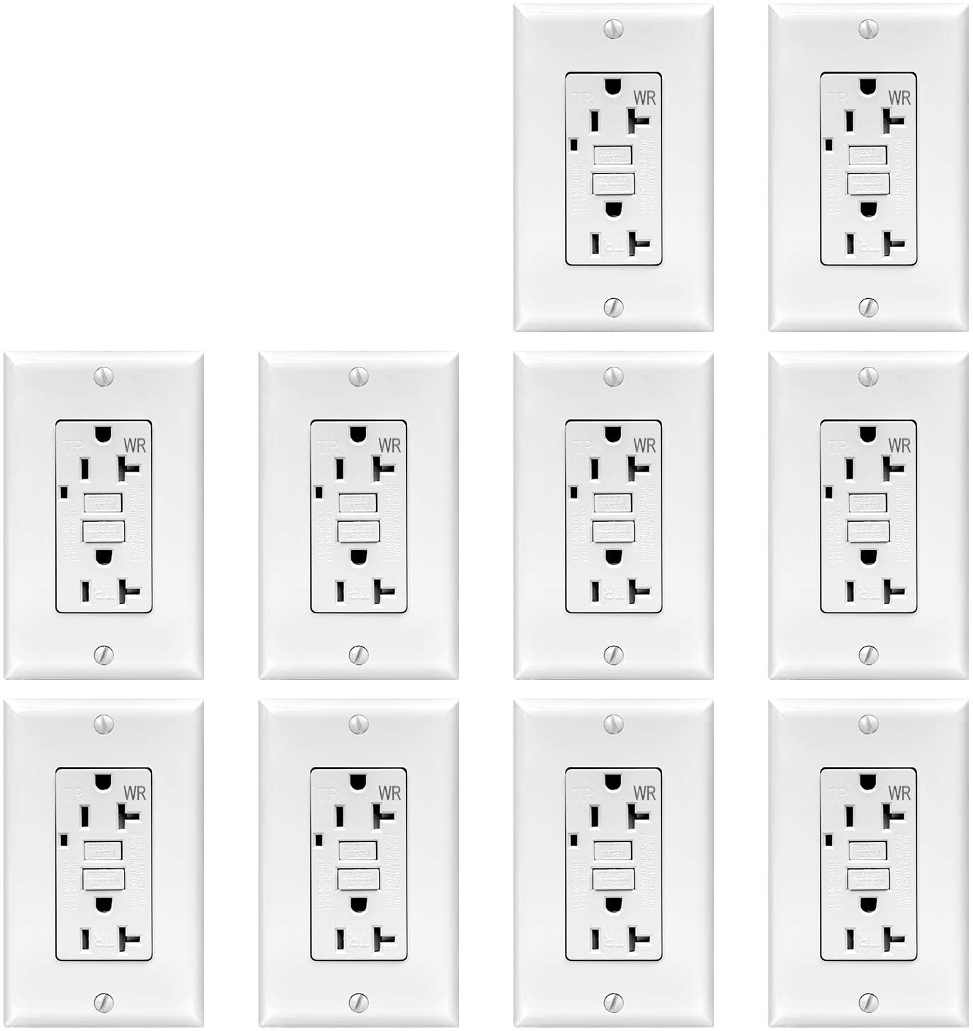 TOPELE 20Amp GFCI Outlet 125 Volt Tamper-Resistant, Weather-Resistant Receptacle, LED Indicator Lights, 1 Wall Plate and Screws Included, White, Pack of 10, UL Listed