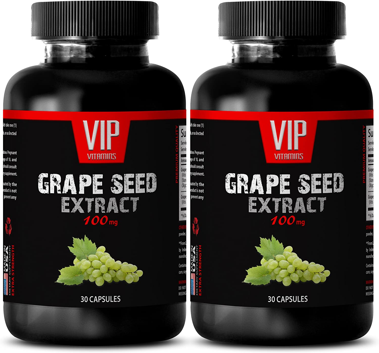 antioxidant Immune Support - Grape Seed Extract 100 MG - grapeseed Supplement - 2 Bottles 60 Capsules