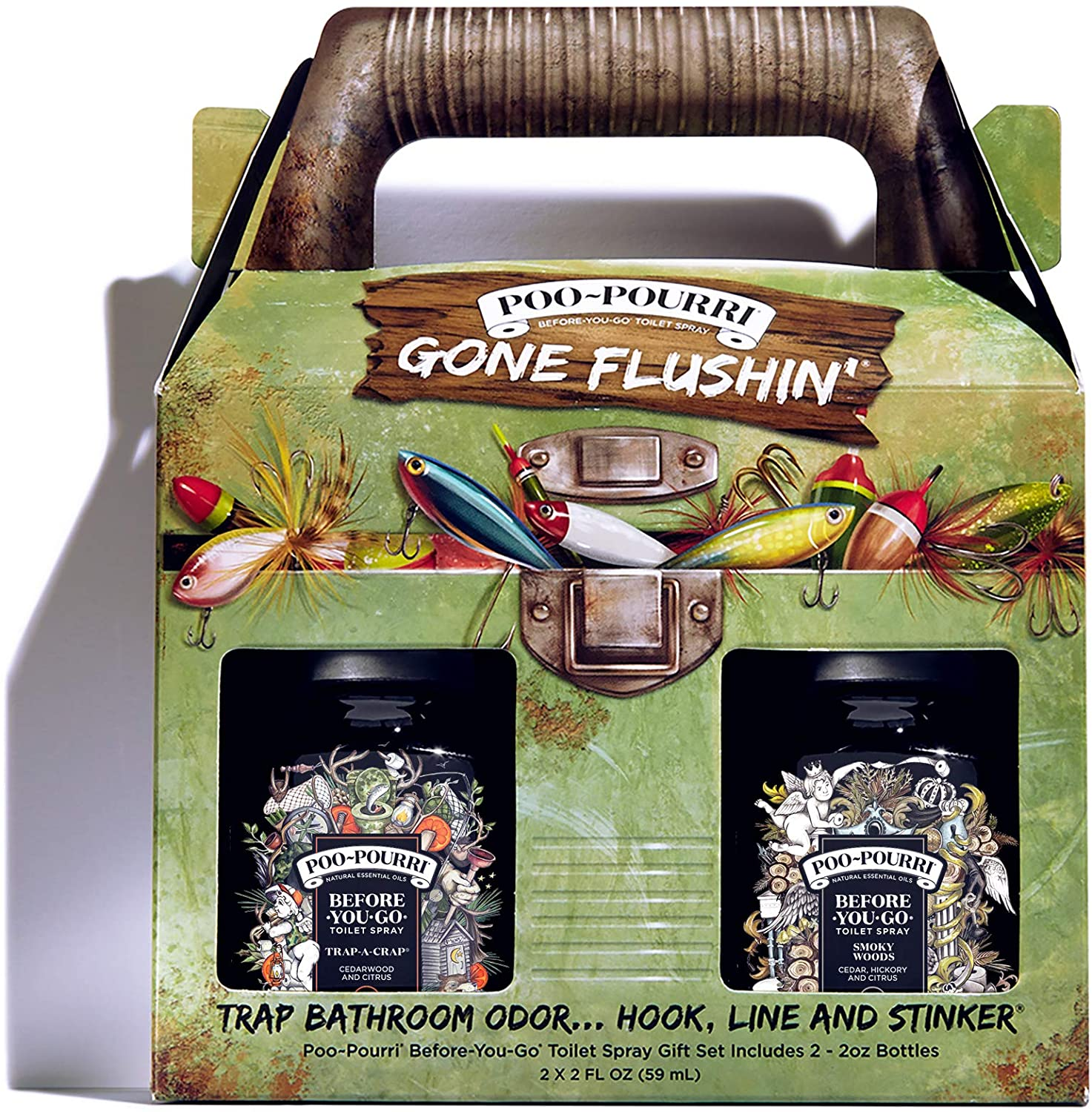 Poo-Pourri Before-You-Go Toilet Spray, Gone Flushin Gift Set of 2, Trap-A-Crap and Smoky Woods Scent