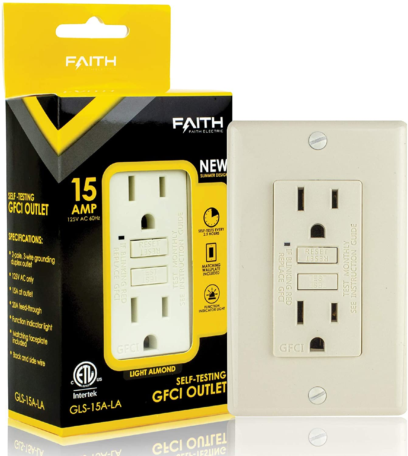Faith 15A GFCI Outlet Slim, Non-Tamper-Resistant GFI Duplex Receptacles with LED Indicator, Self-Test Ground Fault Circuit Interrupter with Wall Plate, ETL Listed, Light Almond