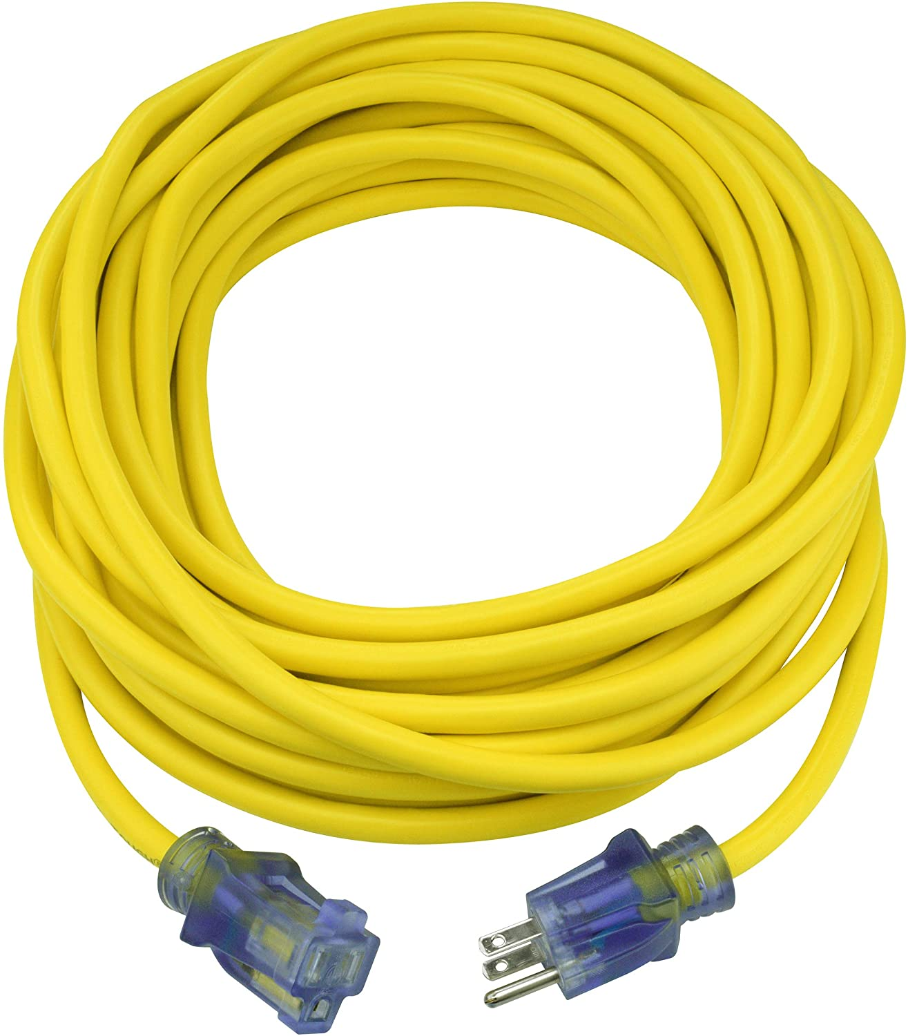Clear Power 50 ft Extra Heavy Duty Contractor Grade Extension Cord 10/3 SJTOW, Power Indicator Light, Oil Water & Weather Resistant, Flame Retardant, Yellow, 3 Prong Grounded Plug, CP10175
