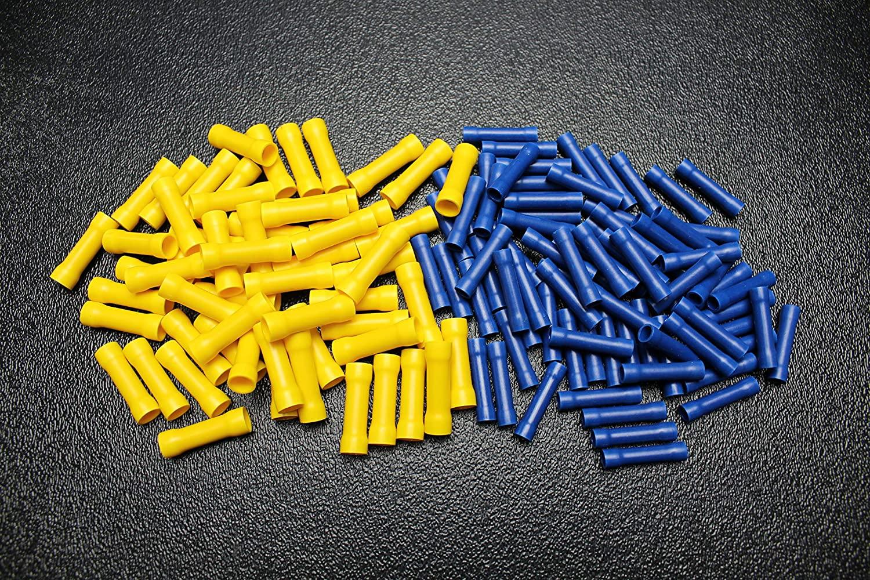 100 PK 10-12 14-16 Gauge Vinyl Butt CONNECTORS 50 PCS EA Terminal Barrel Splice