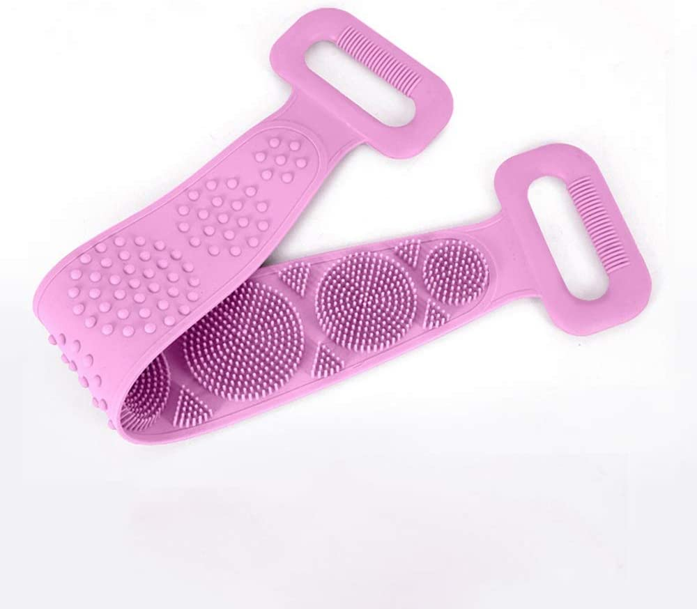 Silicone Body Scrubber Silicone Bath Body Brush Back Cleaning Exfoliating Body Scrubber Bath Shower Towel Silicone Body Wash Scrubber Belt for Men and Women (Color : Pink)