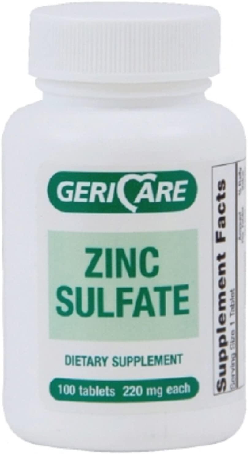 GeriCare - Zinc Sulfate Supplement - 220 mg Strength - Tablet - 60 per Bottle