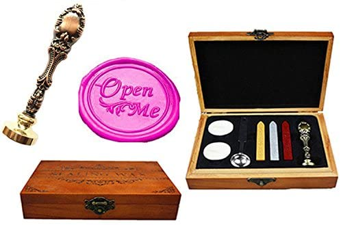 MNYR Vintage Open Me Gift Decorative Luxury Wood Box Gold Metal Peacock Wedding Invitations Gift Cards Paper Stationary Envelope Custom Logo Wax Seal Sealing Stamp Sticks Melting Spoon Gift Box Kit