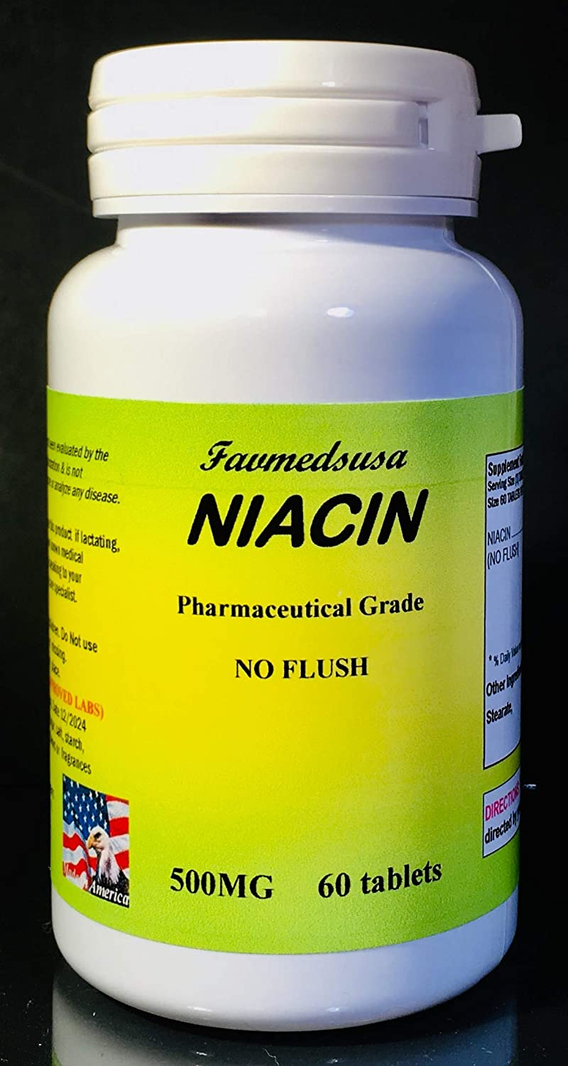 Niacin No Flush 500mg, Cholesterol, Made in USA - 60 Tablets