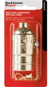 Pass & Seymour 19980PGBPCC5 Pull Chain Electrolier Metal Shell Lamp Socket, 660W, 250V, Brass Finish