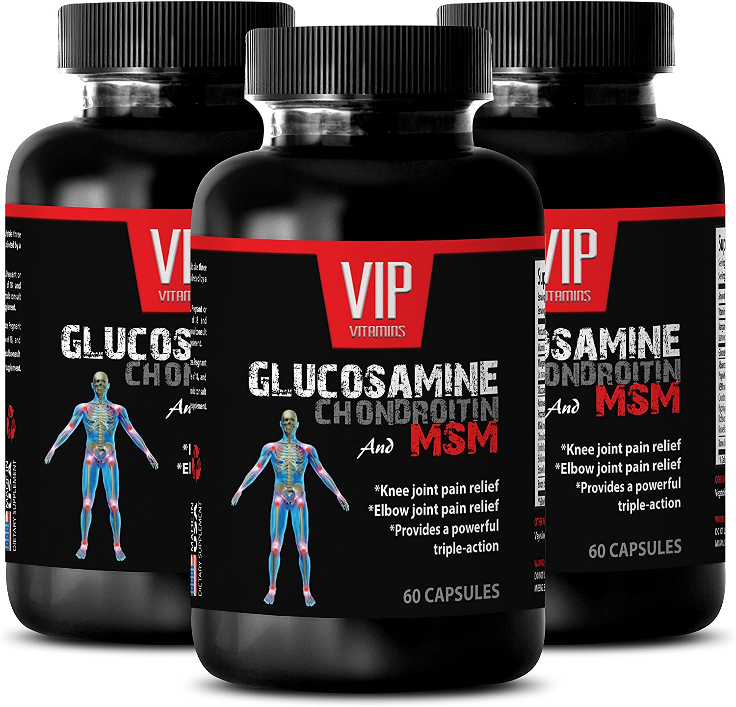 Immune Support Adults - GLUCOSAMINE CHONDROITIN & MSM 3200MG - msm Joint - 3 Bottles 180 Capsules