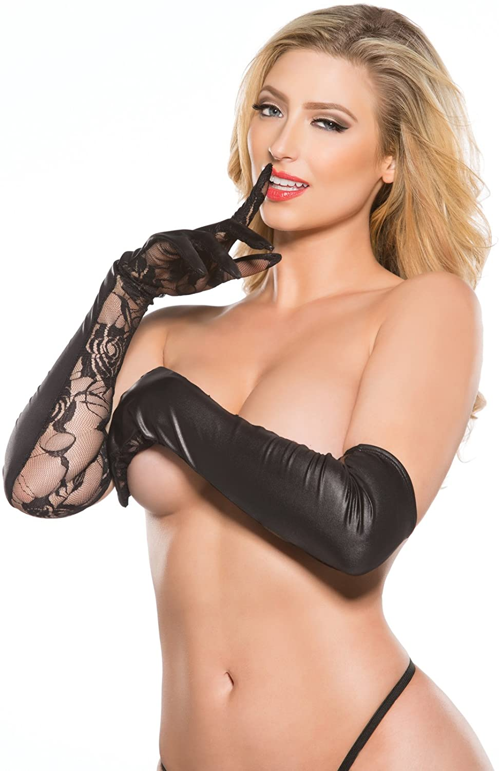 Allure Lingerie Kitten Lace and Wet Look Gloves O/s