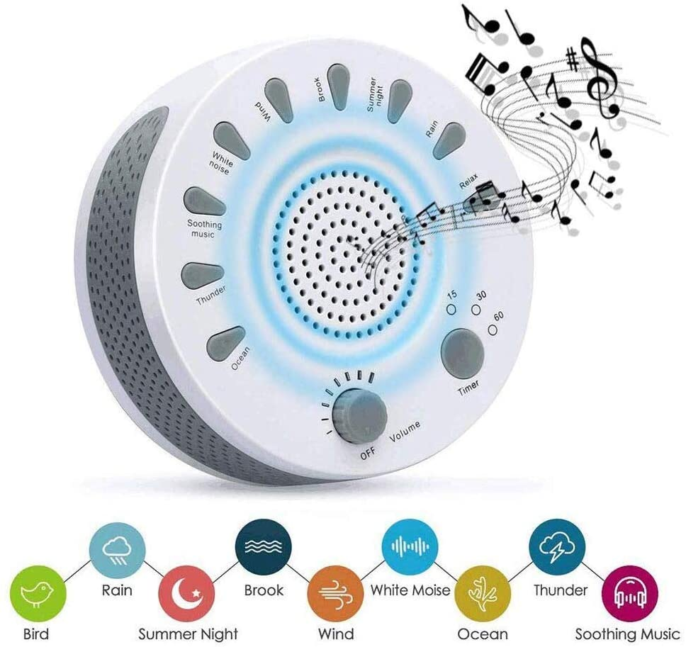 Portable White Noise Sound Machine Baby Light Sleep Therapy Regulator with 9 Soothing Sound Plants Baby Sleeping Monitor
