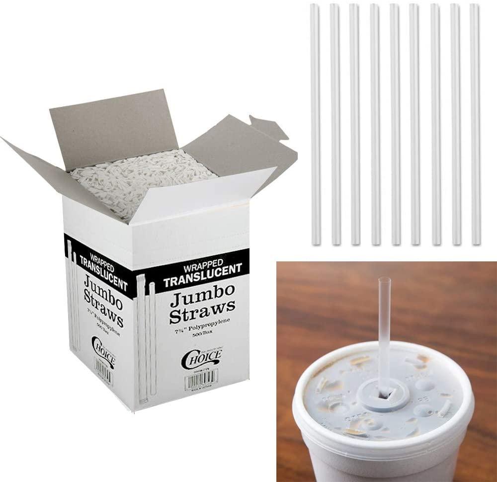500 Drinking Straws Paper Wrapped Slim Plastic 7-3/4