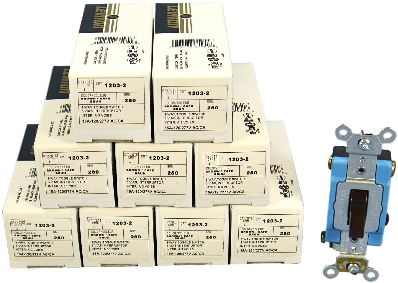 Leviton 1203-2 15 Amp 3-Way Toggle Switch Industrial - Brown (Pkg of 10)