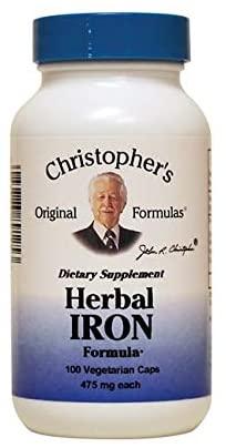 Dr. Christopher's Original Formulas - Herbal Iron Formula 450 Mg. - 100 Vegetarian Capsules