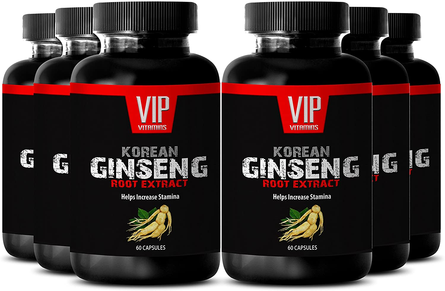 Prime Red Root Supplement - Korean Ginseng - Concentrated from Premium Ginseng Root Extract (6 Bottles 360 Capsules)