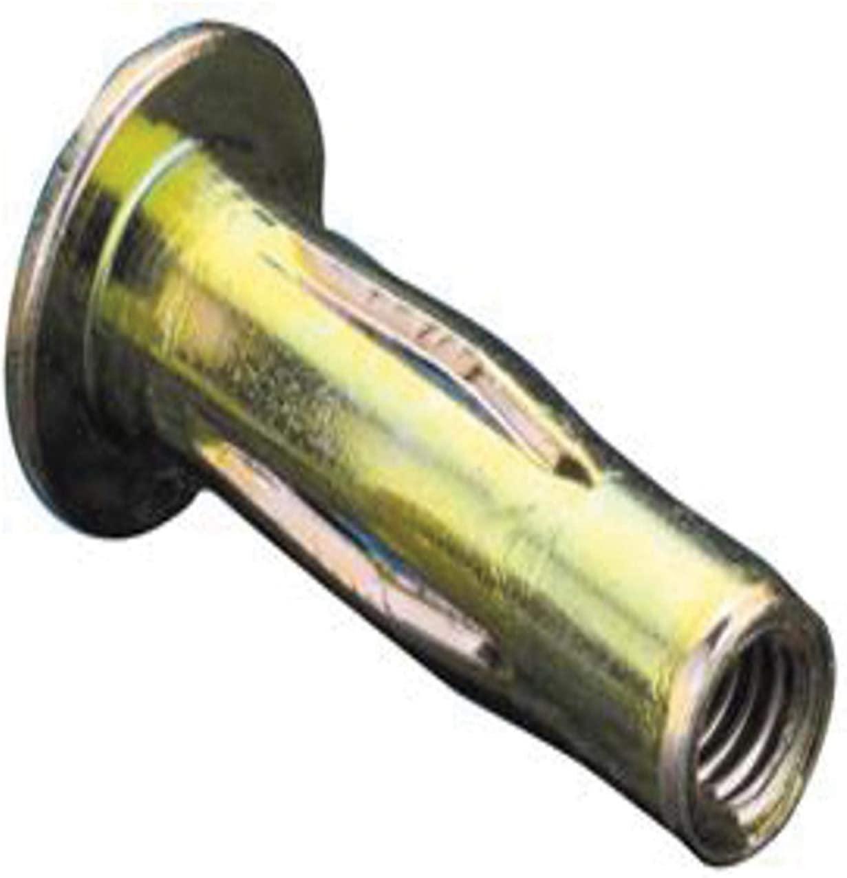 AES10P320PBZYR, Slotted Body Insert, 10-32 (.175-.320 GR) Pre-Bulbed Body, LG FLNG HD, Steel, Zinc YLW (100 PK)