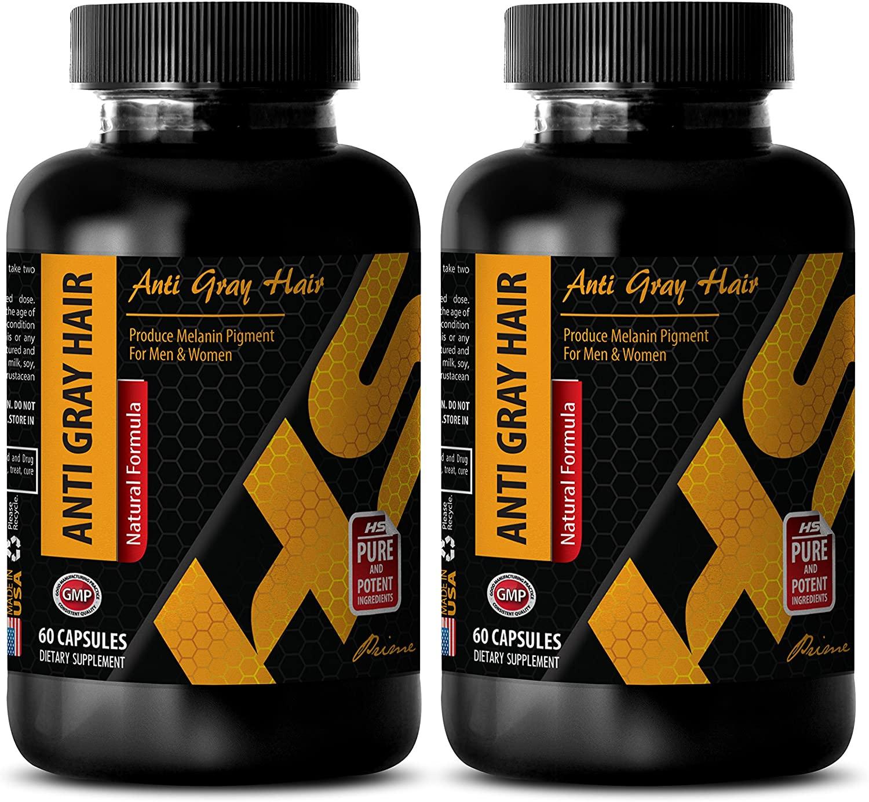 Energy Pills for Men - Anti Gray Hair - Natural Formula - Saw Palmetto Dietary Supplement - 2 Bottles (120 Capsules)