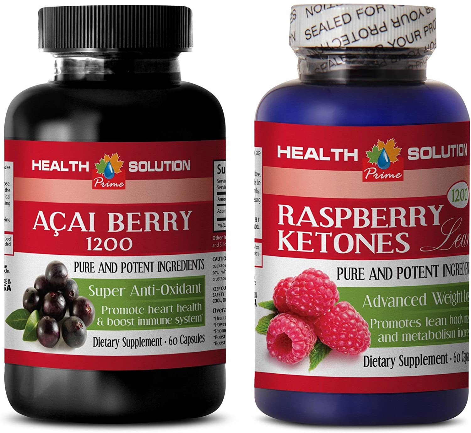 Weight Loss Pills for Men - ACAI Berry Extract – Raspberry Ketones - acai - 2 Bottles Combo 120 Capsules