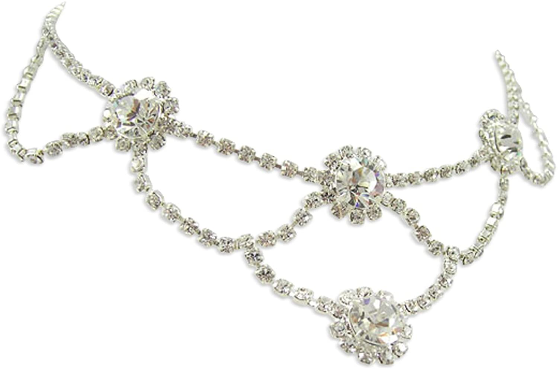 LJ Designs Set Crystal Loop Necklace (K52) - Made With Crystals From Swarovski