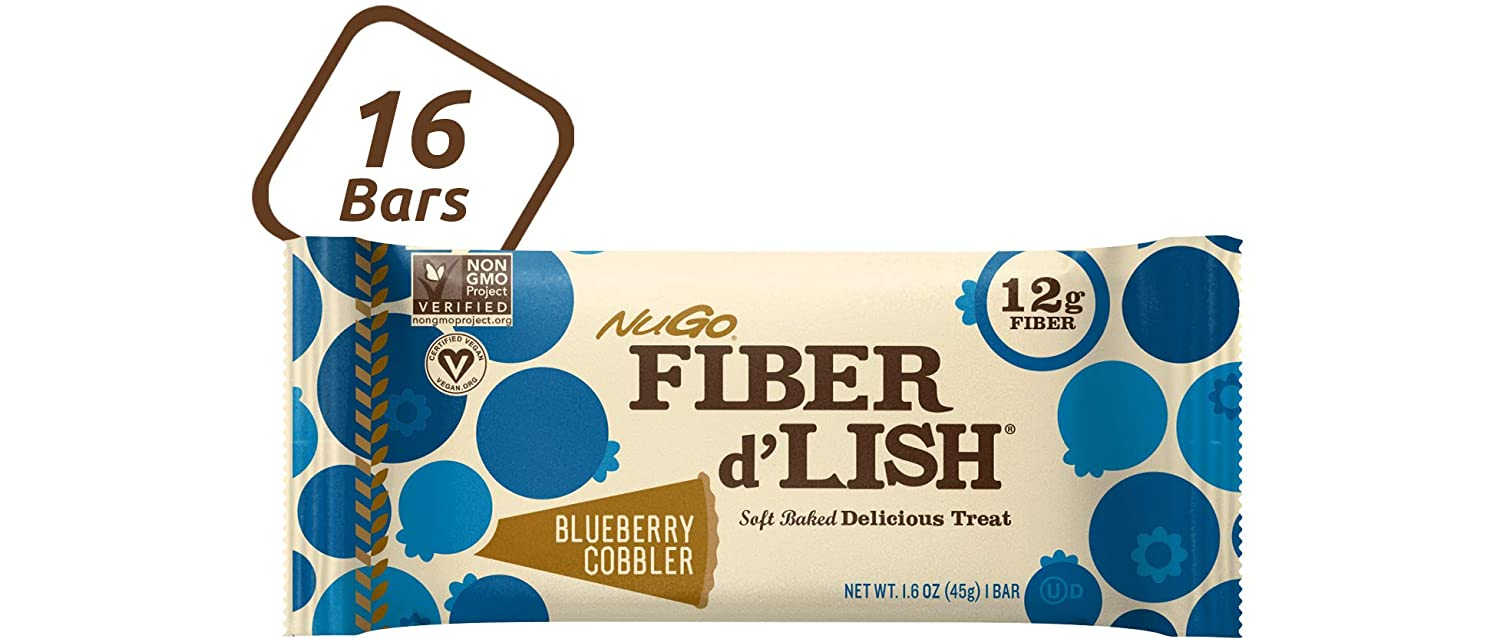 NuGo Fiber d'Lish Blueberry Cobbler, 12g High Fiber, Vegan, 130 Calories, 16 Count