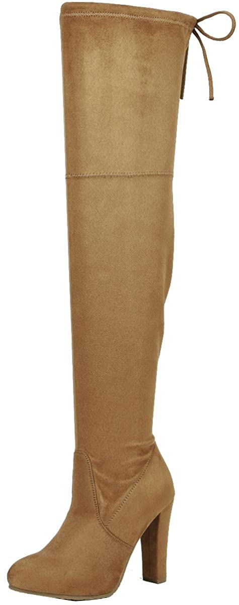 Forever Link Women's Stacked Chunky Heel Stretch Over The Knee Boot (8 B(M) US, Tan)