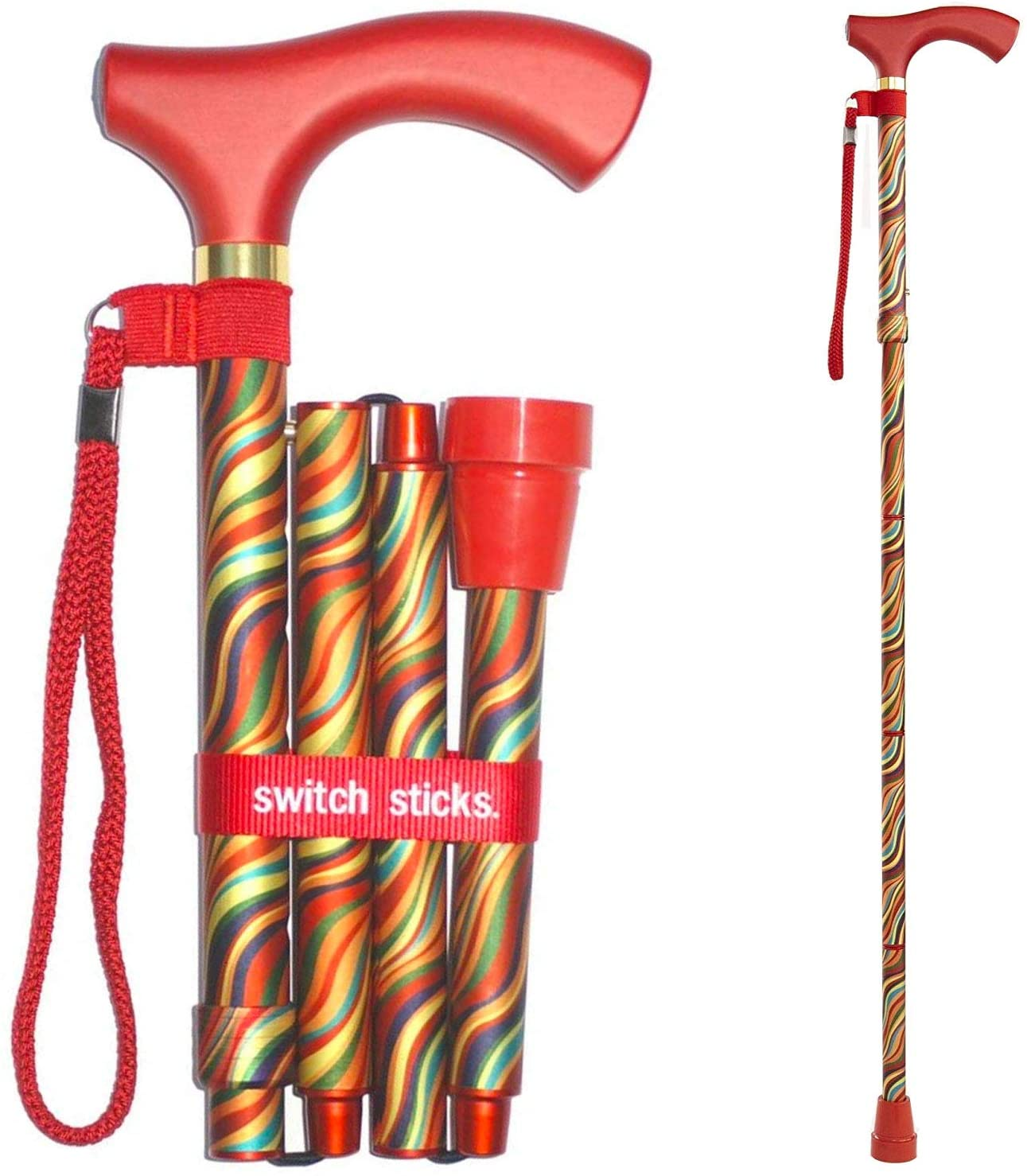 Switch Sticks Aluminum Adjustable Folding Cane and Walking Stick collapses and adjusts from 32 to 37 inches, Carnival