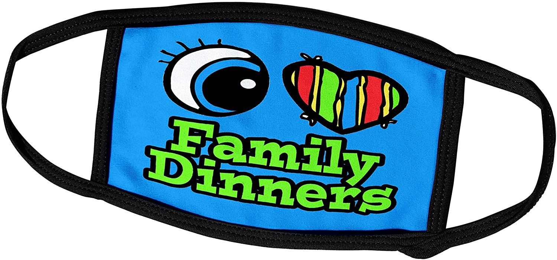 3dRose Dooni Designs Eye Heart I Love Designs - Bright Eye Heart I Love Family Dinners - Face Masks (fm_106058_2)