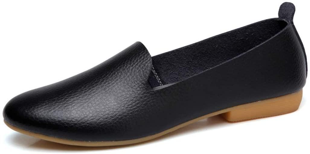 StarttWin Women Flats Shoes Classic Round Toe Slip on Low Block Heel White Black Boat Shoes