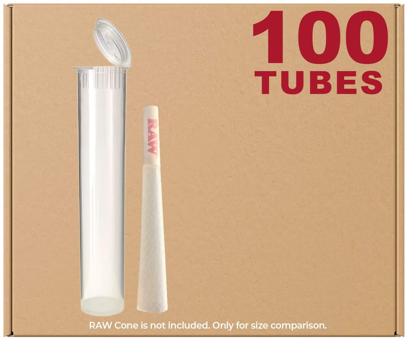 98MM Clear Doob Tubes   100 Pack   Waterproof Airtight and Smell Proof Blunt Vial Container   Child Resistant with Squeeze Pop Tops   BPA-Free   Ideal for Storing Pre Rolled Raw Cones