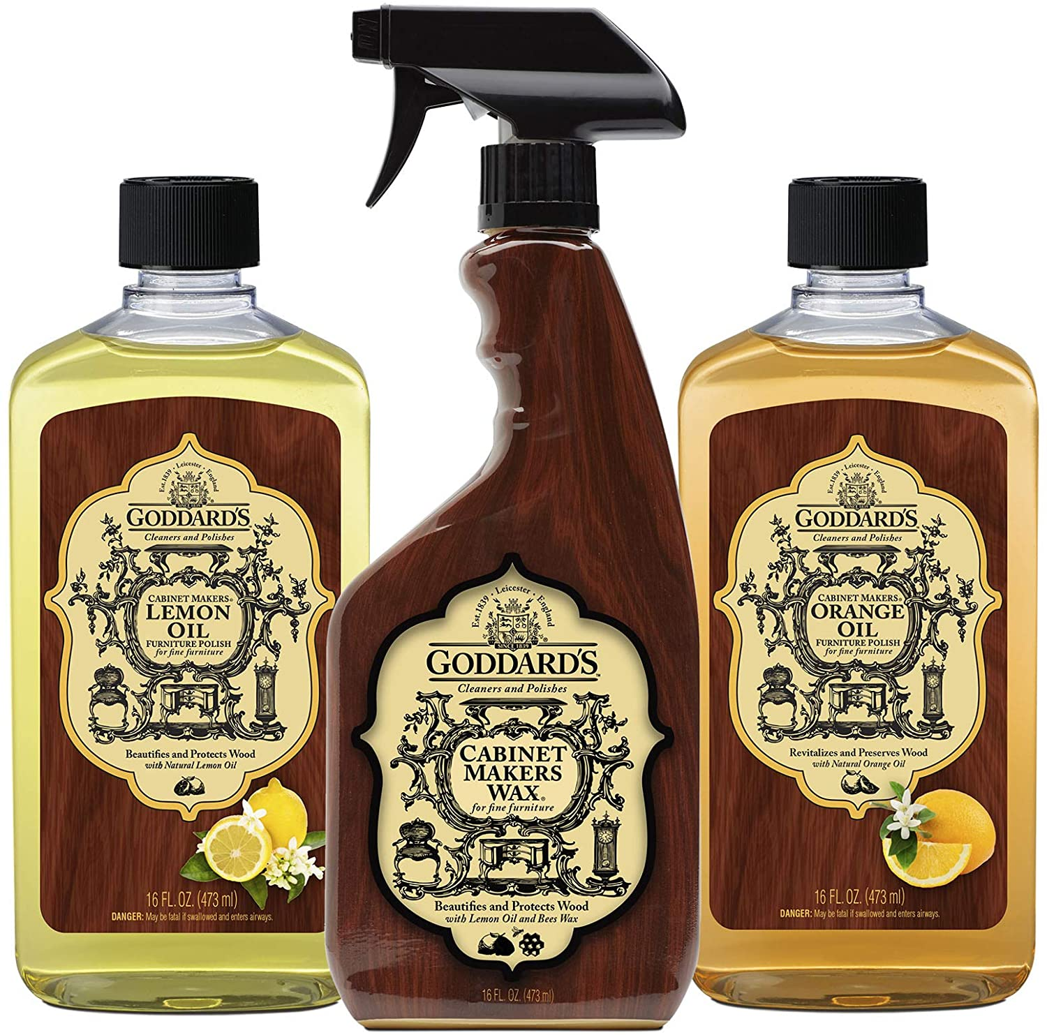 Goddard's Wood Cleaners: Includes 1 Cabinet Makers Wax Spray, 1 Cabinet Makers Lemon Oil, 1 Cabinet Makers Orange Oil