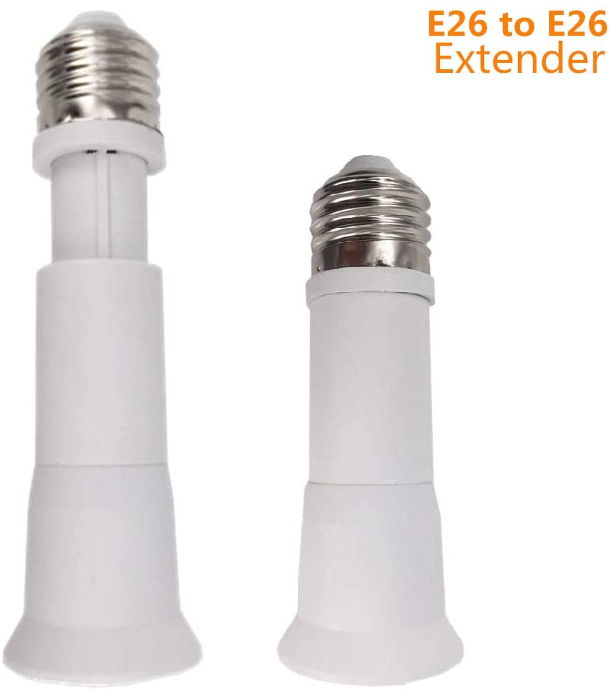 2-Pack E26 to E26 Light Socket Extender Lamp Bulb Adapter Extension (14CM)