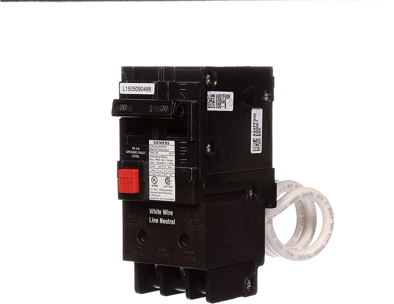 QE220 20-Amp Double Pole 240-Volt Ground Fault Equipment Protection Circuit Breaker