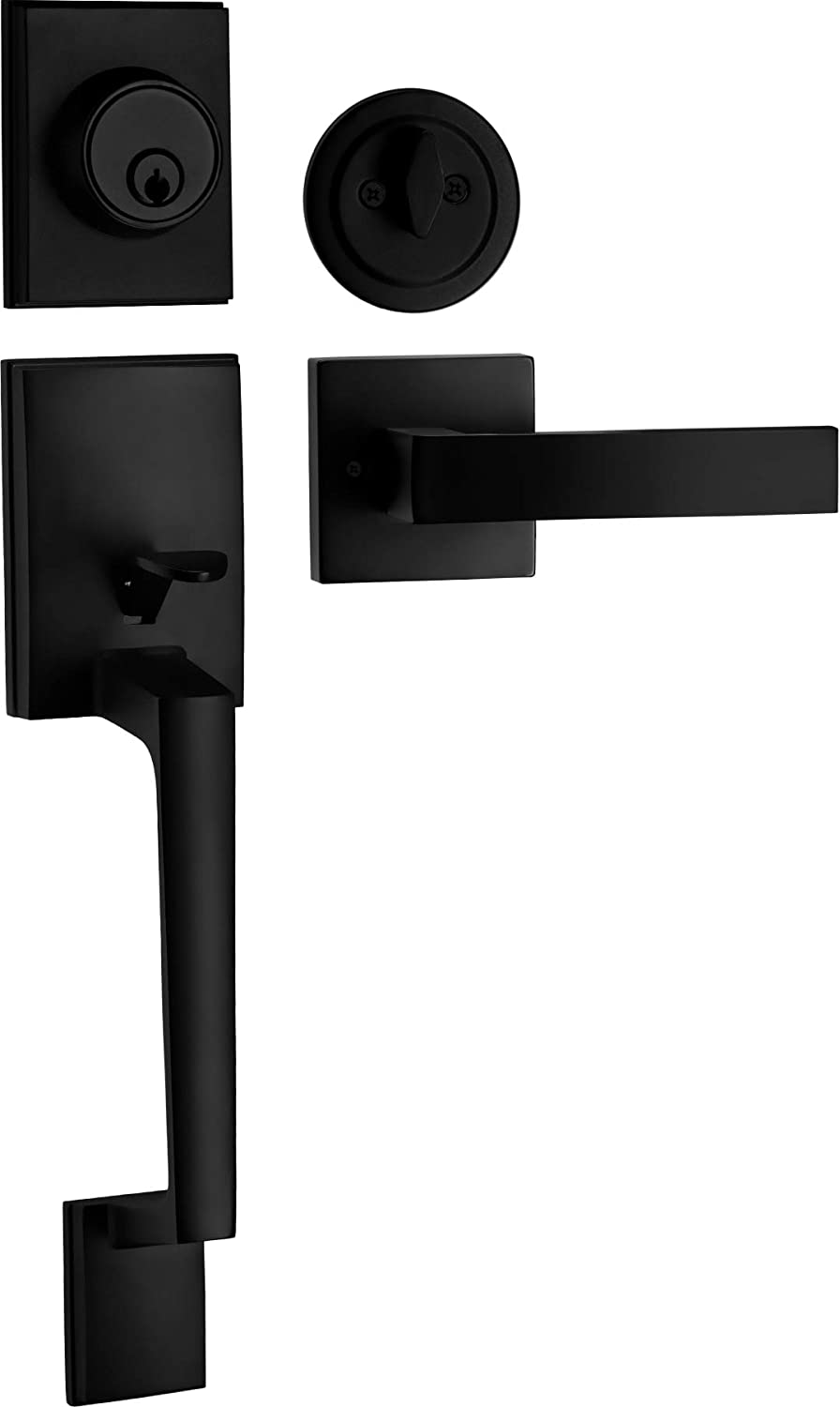 Berlin Modisch Single Cylinder HandleSet with Lever Door Handle (for Entrance and Front Door) Reversible for Right and Left Handed and a Single Cylinder deadbolt Handle Set Iron Black Finish