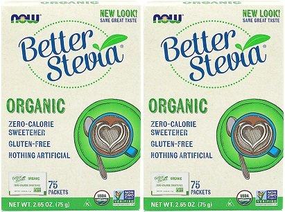 Now Better Stevia Organic Sweetener, 75 pack of 2