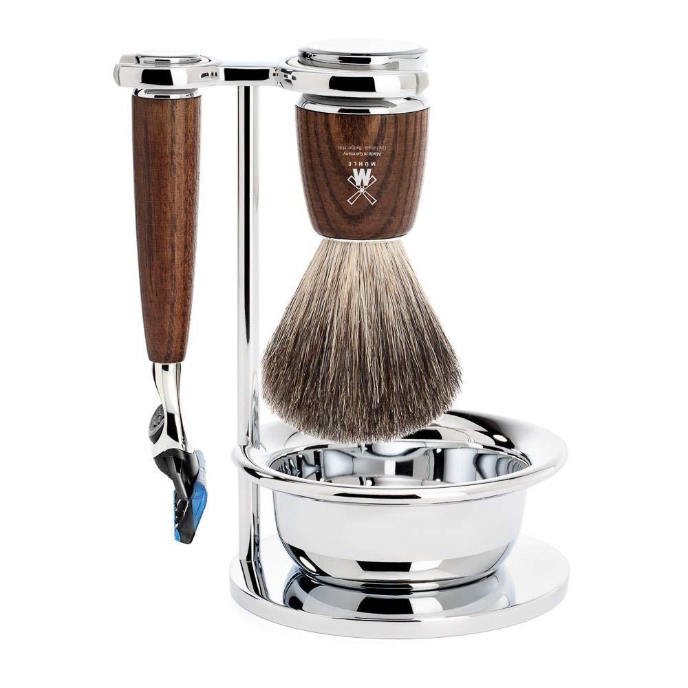 MÜHLE RYTMO Steamed Ash 4-piece Pure Badger 5-Blade Razor Shaving Set