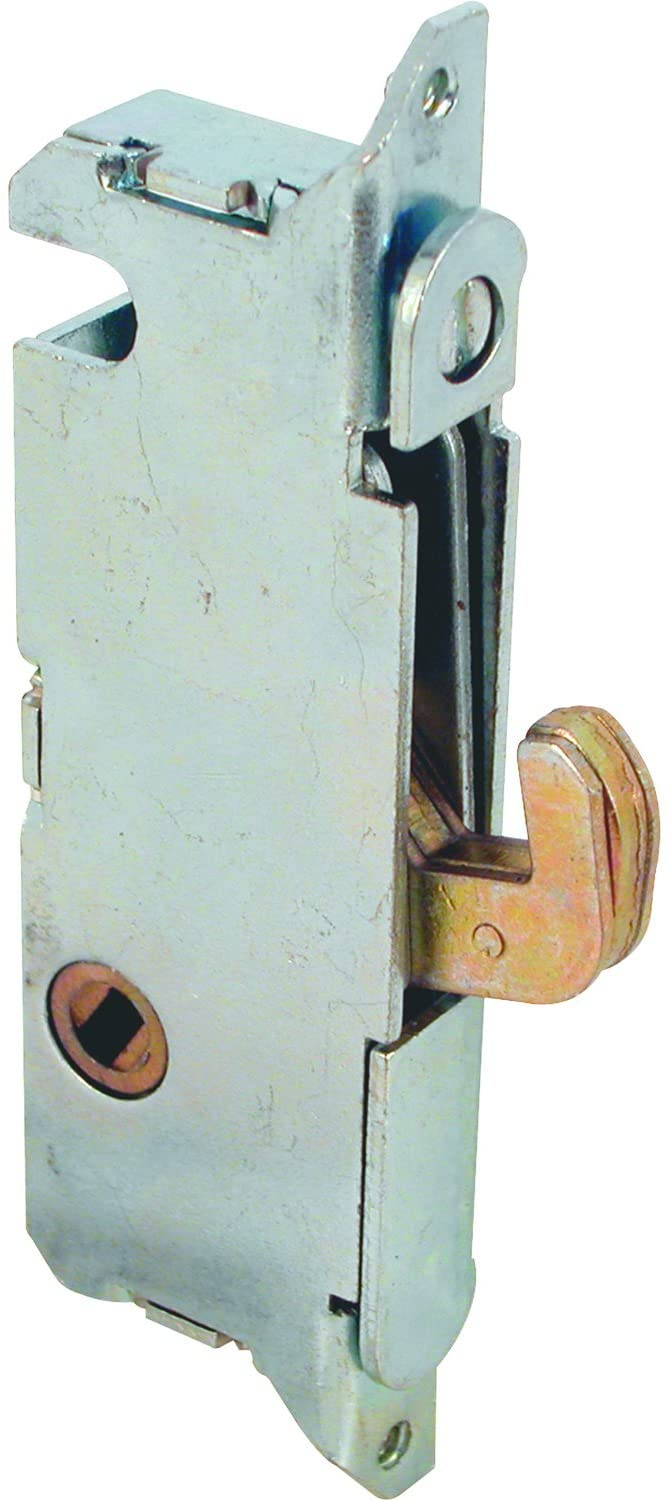"""Prime-Line E 2014 Mortise Lock - Adjustable, Spring-Loaded Hook Latch Projection for Sliding Patio Doors Constructed of Wood, Aluminum and Vinyl, 3-11/16"""", 45 Degree Keyway, Round Face"""