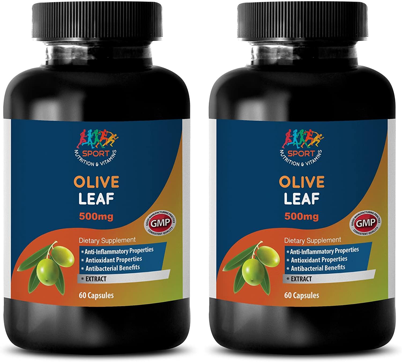 Immune System Vitamins for Men - Olive Leaf Extract 500mg - Olive Leaf Extract Bulk Supplements - 2 Bottles 120 Capsules