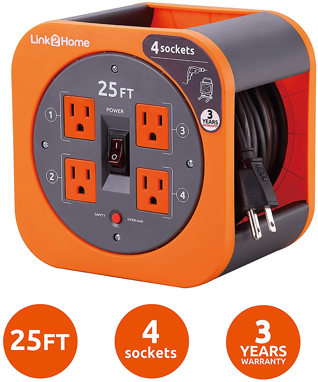 Link2Home Cord Reel 25 ft. Extension Cord 4 Power Outlets – 16 AWG SJT Cable.