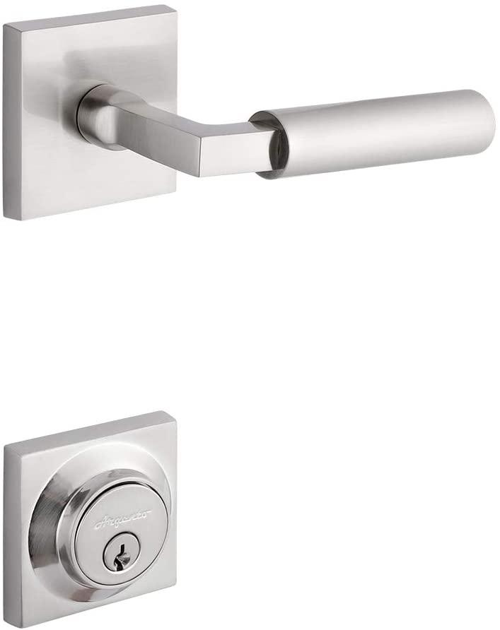 Entrance Door Knobs, Door Lock Suitable for Door Handles of Commercial and Residential Outdoor Doors, Entrance Doors, Villa Doors and So On, AA Door Handle. (Matte Silver)