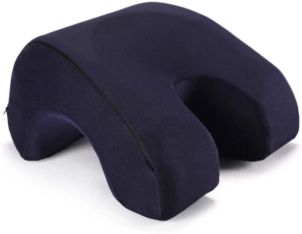chun Nap Sleeping Pillow - Pure Memory Foam Nap Pillow Slow Rebound Desk Pillow, Removable Washable Velvet,Dark Blue