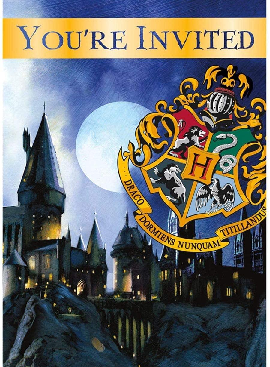 Unique 59074W Harry Potter Hogwarts Party Invitations, 8 Ct., Multi, One Size