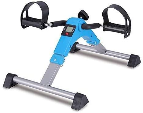 DLQ Portable Foot Pedal Exerciser,Foldable Mini Stationary Bike Pedaler for Leg and Arm Knee Recovery Exercise for Man and Woman 325 (Color : Blue)